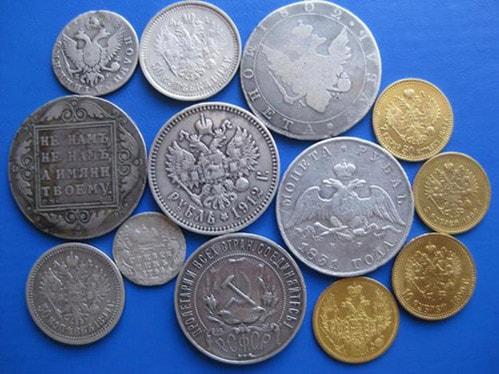Серебряные и медные монеты