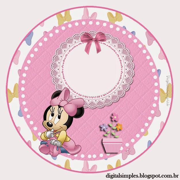 Toppers o Etiquetas de Minnie Bebé para imprimir gratis.