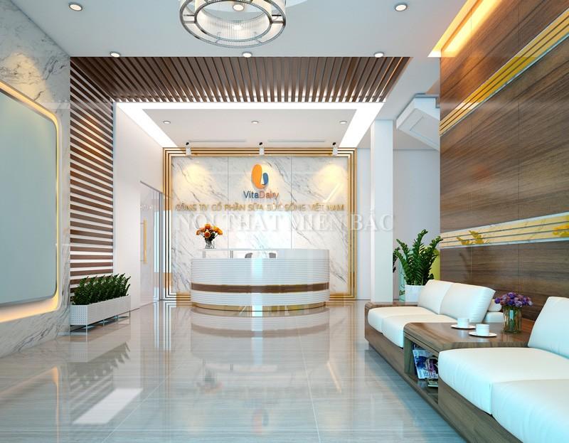 Thiết kế nội thất văn phòng khu quầy lễ tân chuyên nghiệp