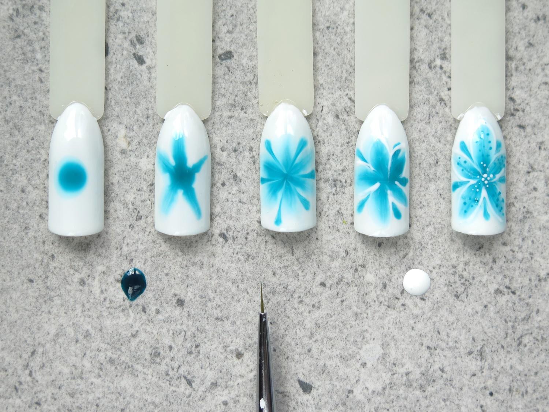 jak zrobić neonail aquarelle hybrydy krok po kroku kwiaty akwarelowe pędzelek do zdobień