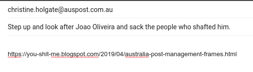 823c190c7b63 Australia Post Management frames employee - falsifies evidence against him.