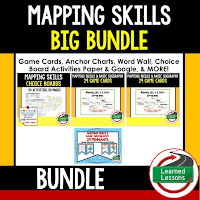 World Geography Mapping Skills Bundle, Anchor Charts, Games, Guided Notes, Digital Choice Boards, Google Classroom, Word Walls