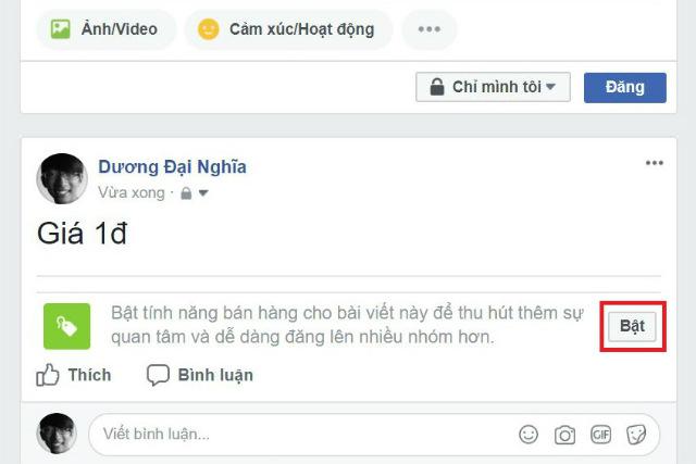 tính năng bán hàng trên facebook 2