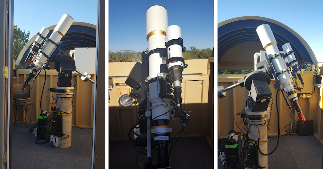 ATEO-2 pictured with its complete imaging equipment listed above in Omega Observatory  at SkyPi Remote Observatory.