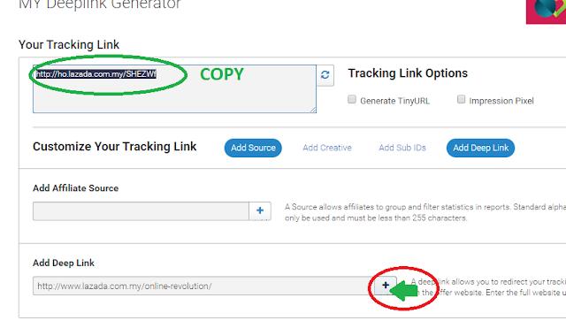 Copy Link di bahagian Tracking Link Options