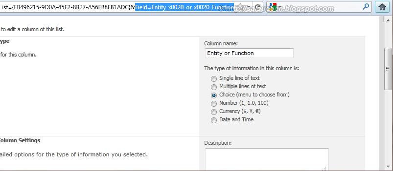 SharePoint Column Display Name vs Internal Name