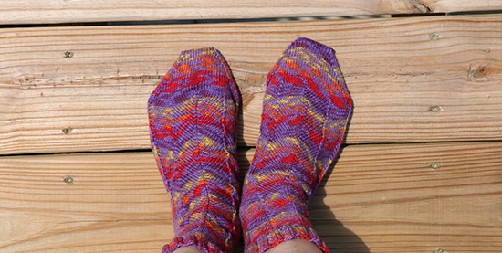 Pair of Hand Knit Purple Jaywalker Socks