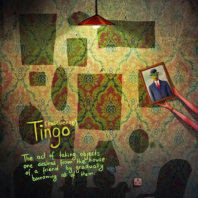 Tingo (palavra de origem pascuense - de origem da Polinésia). Mostra uma parede com quadros em falta.