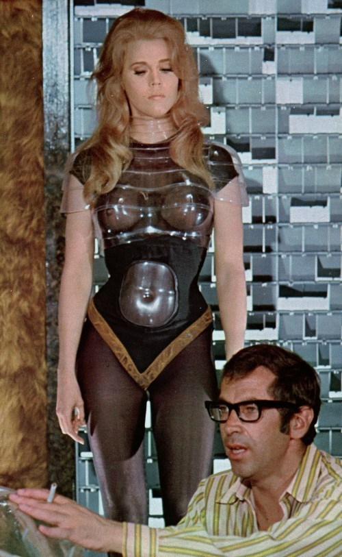 Roger Vadim directs Jane Fonda in Barbarella 1968