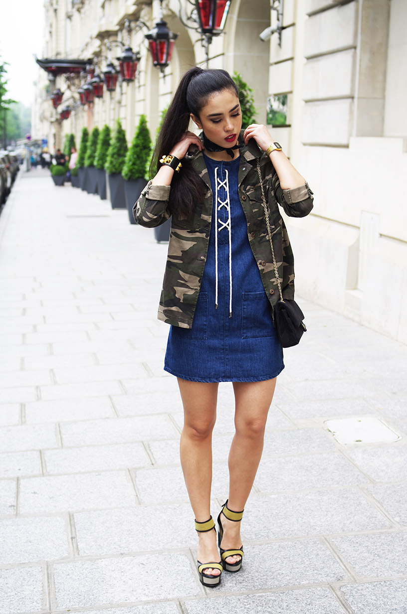 Elizabeth l Recycle outfit l Military jacket denim lace up dress platform sandals l THEDEETSONE l http://thedeetsone.blogspot.fr