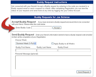 Enter your buddy code in the accept buddy request box