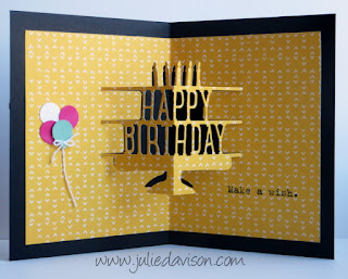 Pop-Up Inside: Party with Cake Card + Video #stampinup 2016 Occasions Catalog www.juliedavison.com