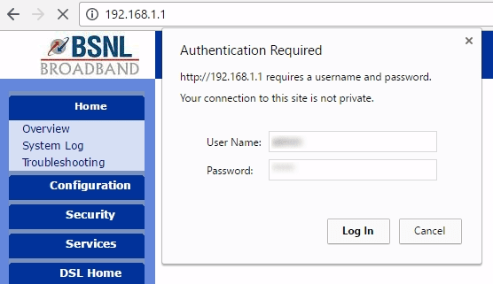 BSNL broadband speed test modem login
