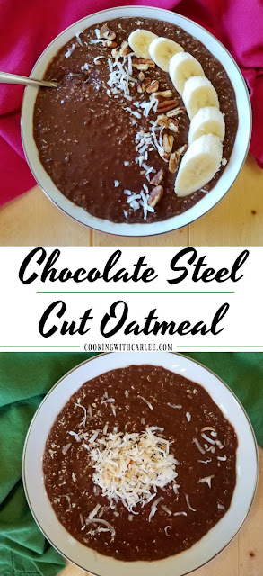This chocolate steel cut oatmeal is healthy, creamy and delicious.  There is not refined sugar and so much goodness. It is sure to start your day with a smile!