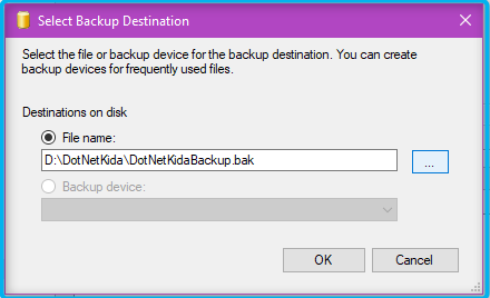 DotNetKida: Select the destination for the backup