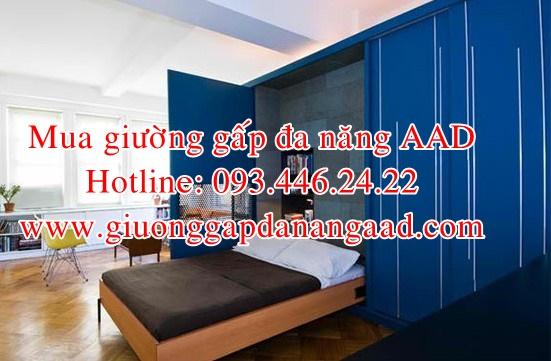 mẫu giường gấp dọc đa năng màu xanh