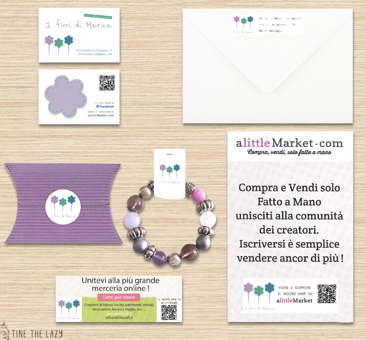 Blog Design per 'I fiori di Marica' - materiale branding e packaging
