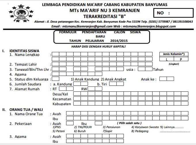 Formulir Pendaftaran Siswa Baru 2014 2015 Mts Ma Arif Nu 3 Kemranjen