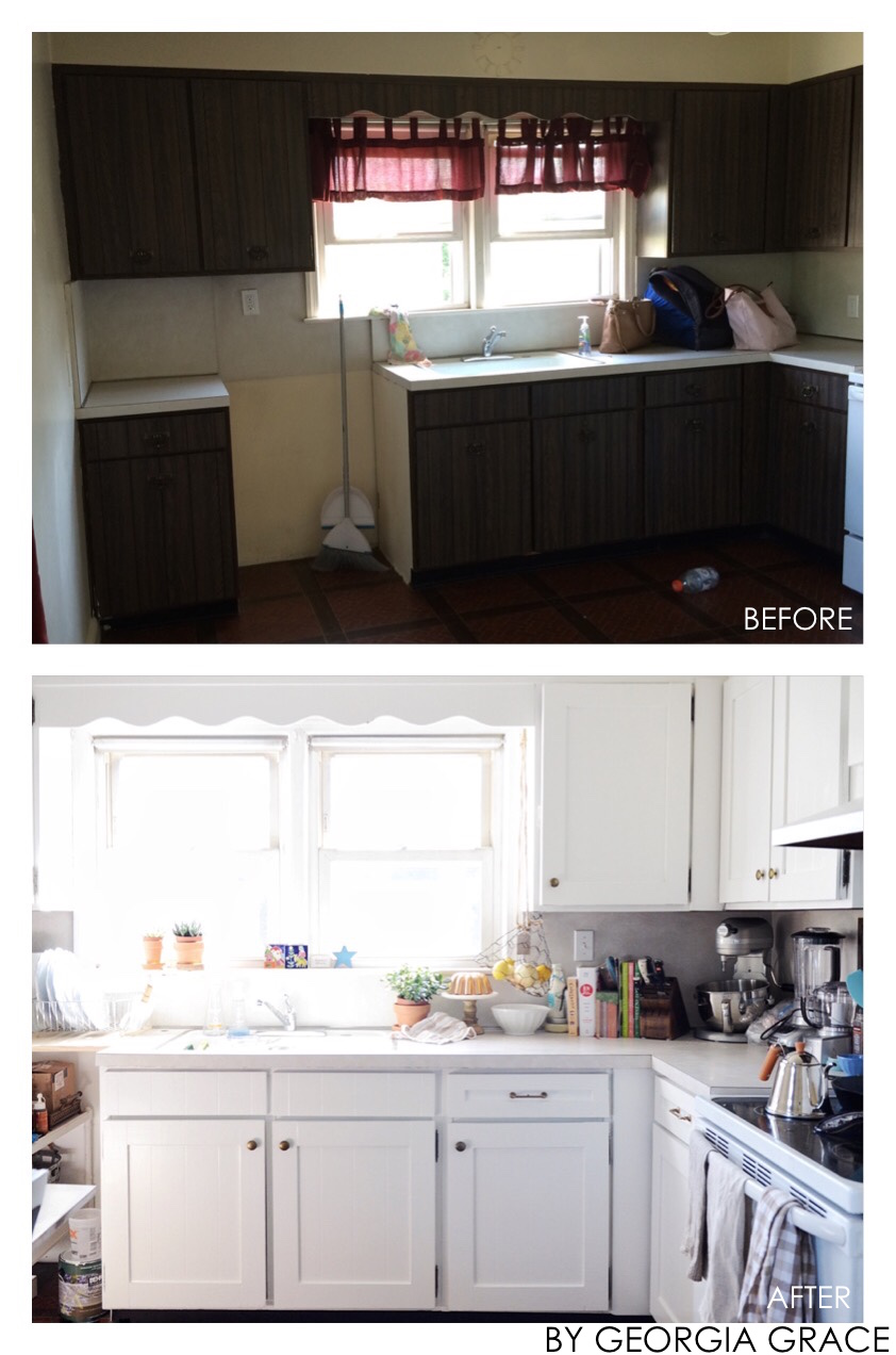 Benjamin Moore Revere Pewter (walls) Chantilly Lace (cabinets)