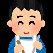 カルメ焼きを作る子供のイラスト(男の子)