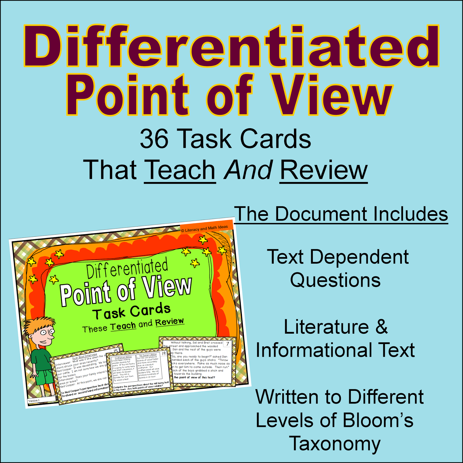 Literacy Amp Math Ideas Differentiated Point Of View Task Cards