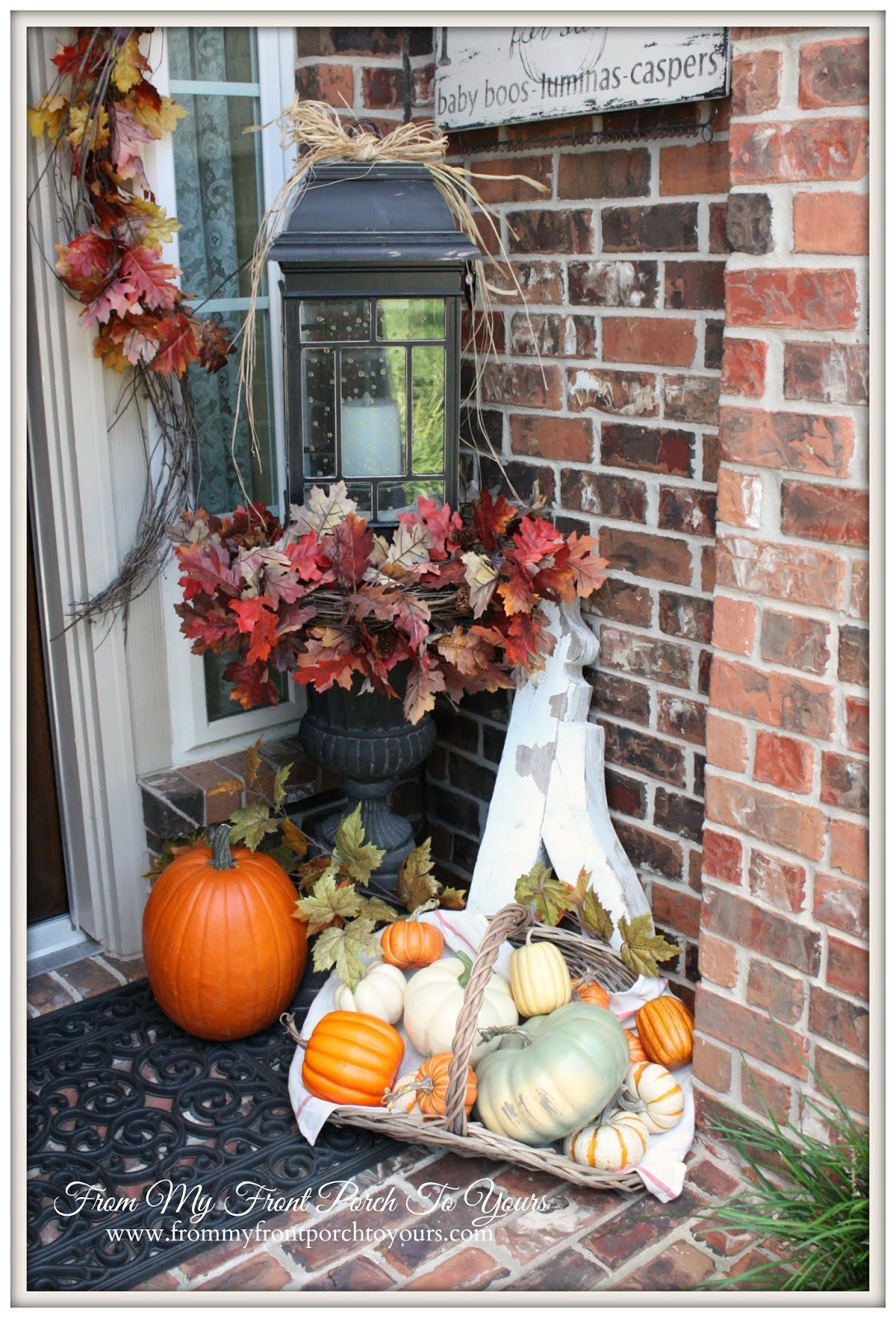 From My Front Porch To Yours- Falling For Fall Porch Party- Faux Pumpkins Mixed with Real Pumpkiins