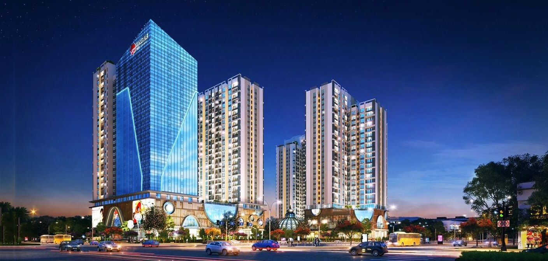Phối cảnh tổng thể dự án 2 mặt tiền chung cư Hinode City