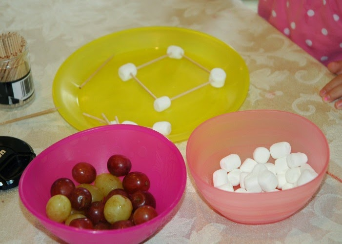 Construction theme snack, building with grapes, marshmallows, and toothpicks