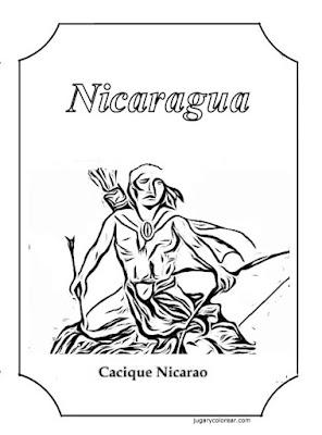 dibujo para colorear del Caquique Nicarao