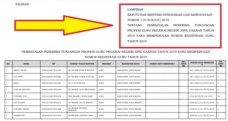 gambar SK tentang Pembatalan Penerima Tunjangan Profesi Guru Pegawai Negeri Sipil Daerah Tahun 2019
