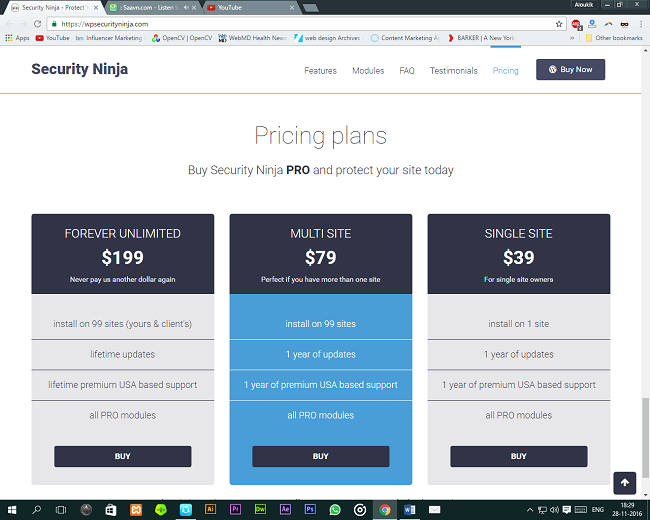 Security Ninja Plans & Pricing