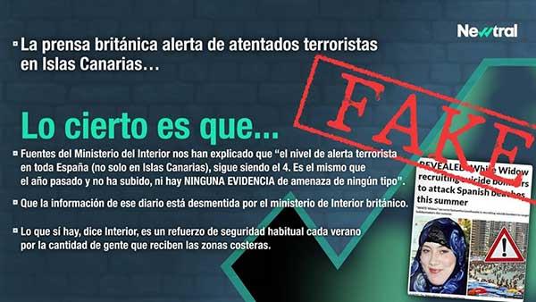 El bulo de la amenaza terrorista en playas de canarias: Fake
