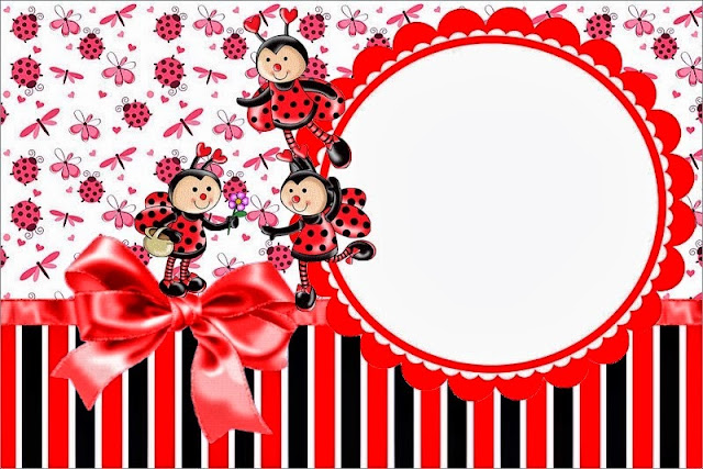 Smiling Ladybugs Free Printable Invitations, Labels or Cards.