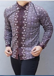 Model Baju Batik Lengan Panjang Pria Muda Slim Fit