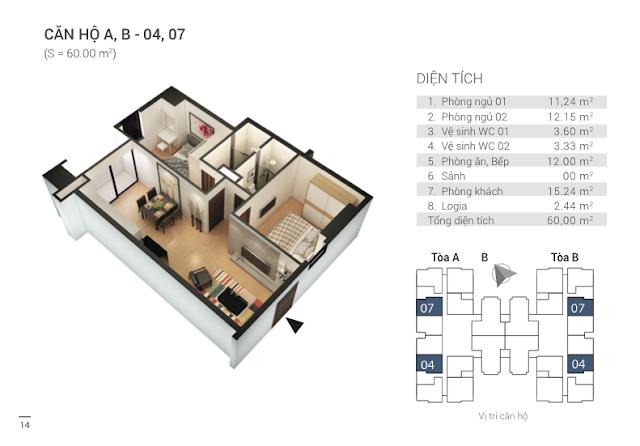 Thiết kế căn hộ 04, 07 chung cư Tứ Hiệp Plaza