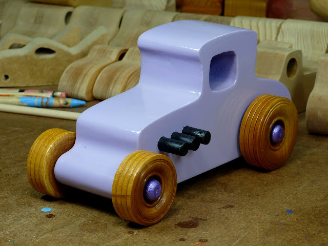 20170522-190114 Wooden Toy Car - Hot Rod Freaky Ford - 27 T Coupe - MDF - Lavender - Amber Shellac - Metallic Purple 02