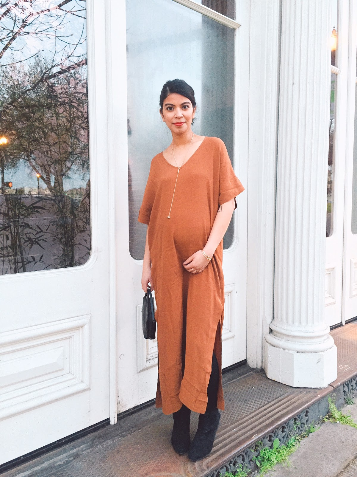 thirty bucks, affordable  fashion, the ptown girls, preggonista, pregnancy style, brown midi dress, black ankle boots, portland fashion blogger,