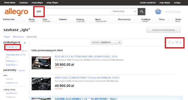 Jak szukać samochodu na allegro? Jaki samochód kupić? Blog Motodrama.