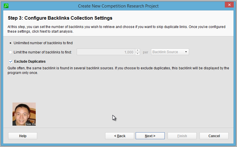 Seo-SpyGlass Step 3 : Configure Backlinks Collection Settings