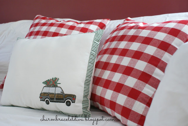 Christmas pillows red buffalo check woody station wagon