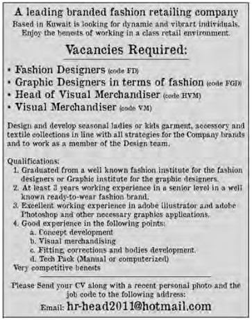 Vacancies for Fashion Designers, Graphic Designers, Head of