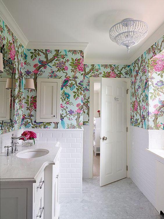 Decoracion Baño Tropical:Papel pintado en baños: