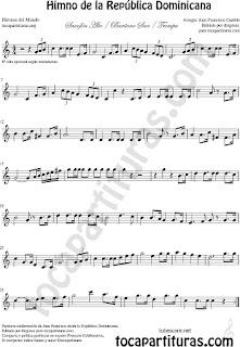 Himno de la República Dominicana Partitura de Trompa y Corno Francés en Mi bemol Sheet Music for French Horn Music Scores