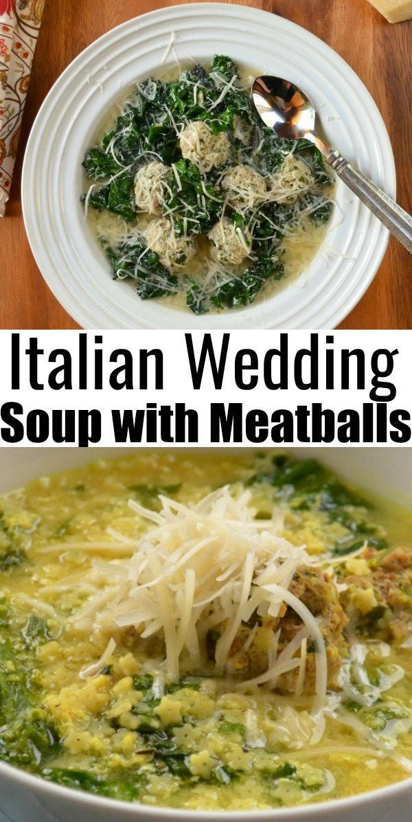 Italian Wedding Soup with Meatballs is an all time favorite soup recipe! Delicious meatballs, chicory or kale, small pasta, and egg make this a family favorite recipe from Serena Bakes Simply From Scratch.