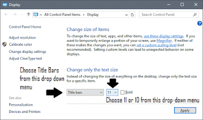 Change Title Bar Text Font Size & Font Family in Windows 10