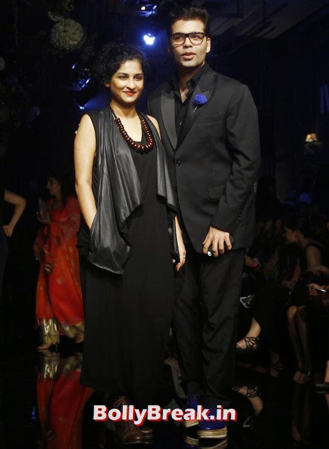 Karan Johar and Gauri Shinde, LFW 2014 Pics  - Lakme Fashion Week 2014 Photo Gallery