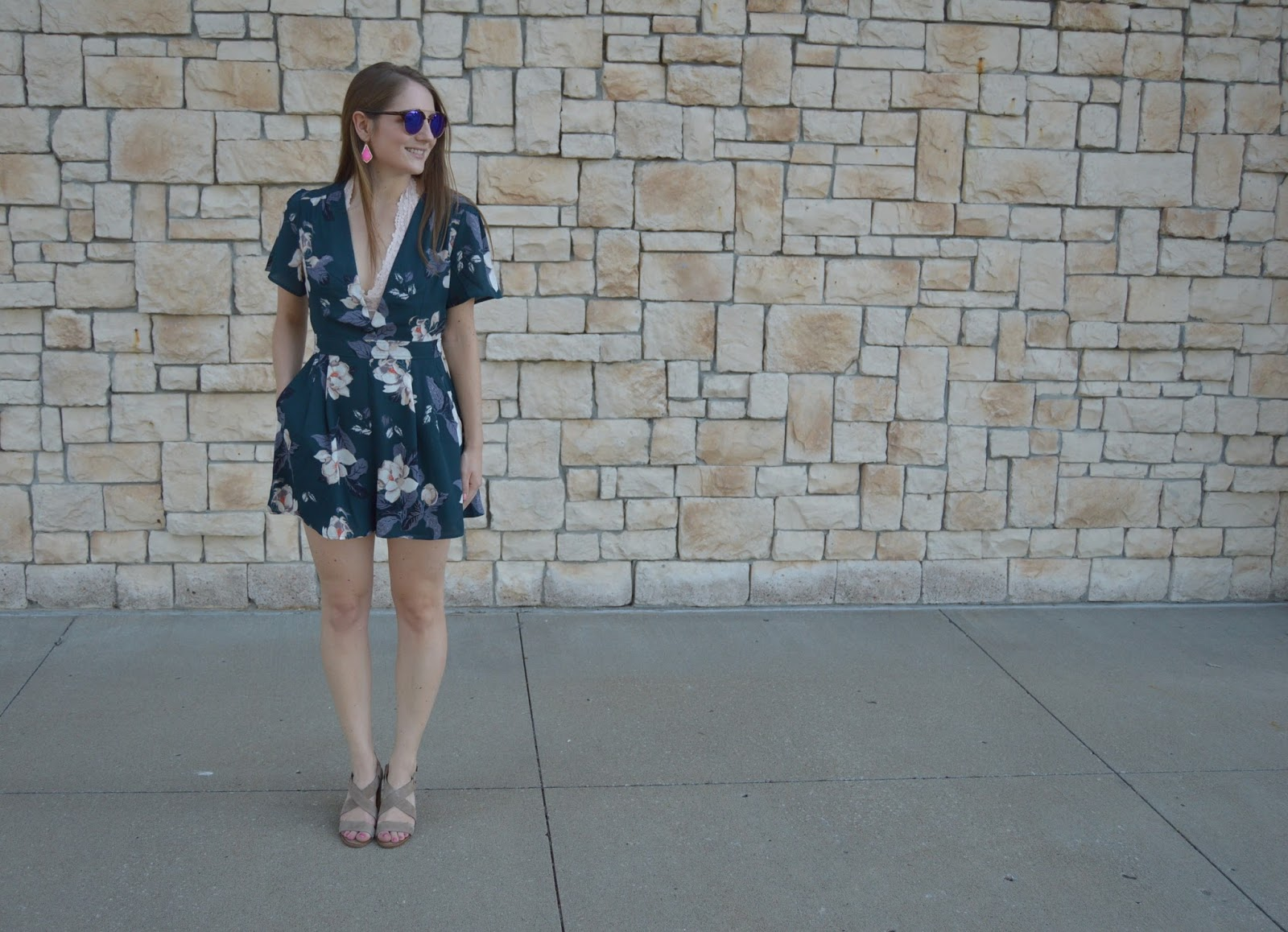 astr floral print romper | rompers included in the nordstrom anniversary sale haul | a memory of us | cute rompers for summer | rompers with pockets | summer date night outfit ideas | kansas city fashion blog