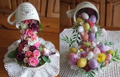 C mo hacer un adorno floral o de pascua con taza y plato for Decoracion con tazas de cafe