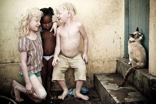 """O fotógrafo Alexandre Severo, um dos passageiros do acidente aéreo em Santos, é o autor do maravilhoso trabalho """"À Flor da Pele"""", em que retratou o dia a dia de irmãos albinos em uma família negra. Dos cinco irmãos, três sobrevivem fugindo da luz, procurando alegria no escuro.Descrição: fotografia mostra três crianças, com os pés descalços sujos, próximas a uma parede encardida: A menor, uma garotinha negra, está em pé entre os dois irmãos albinos, ela usa apenas uma calcinha branca; à esquerda, a irmã albina ajoelhada à altura da irmã negra, enlaça-lhe carinhosamente o pescoço com o braço esquerdo, ela usa uma blusa listrada em branco e marrom e short verde; à direita, o irmão albino está em pé com joelhos levemente flexionados, usa apenas bermuda bege. Atrás do seu pé esquerdo, um saco azul de salgadinhos abandonado no chão. Os irmãos albinos estão sorrindo, com olhos fechados e rostos direcionados à irmã negra que está séria e observa o chão molhado; à direita, próximo a eles, um gato siamês no segundo degrau, encostado a uma porta. A pele extremamente alva e os cabelos louros claríssimos dos irmãos albinos contrastam com a pele negra e os cabelos escuros da irmã menor."""