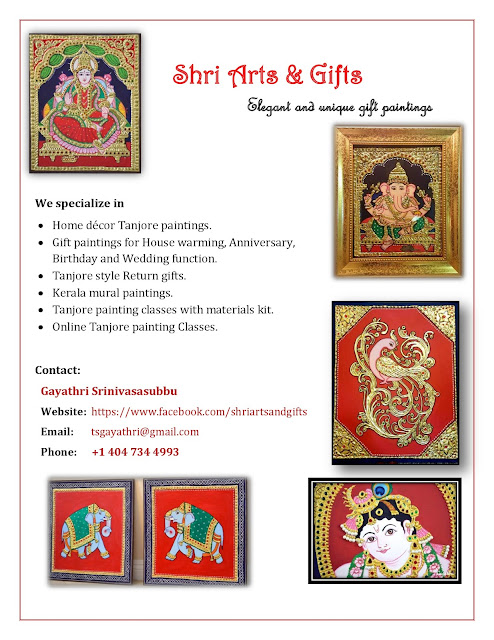 Online Tanjore painting classes Los Angeles USA